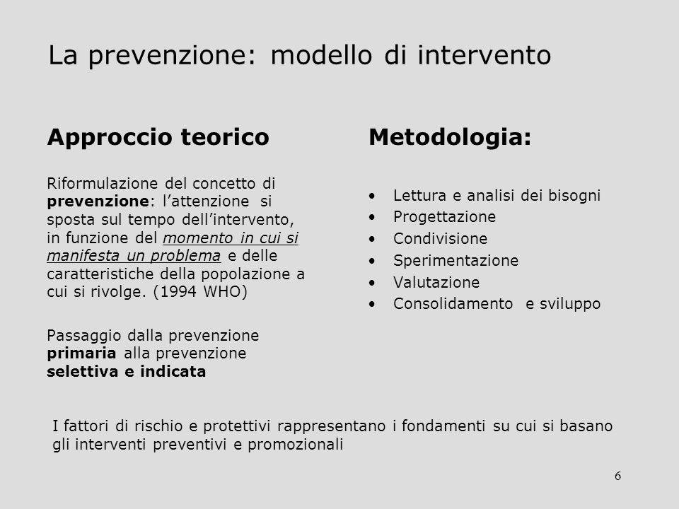 6 La prevenzione: modello di intervento Approccio teorico Riformulazione del concetto di prevenzione: lattenzione si sposta sul tempo dellintervento, in funzione del momento in cui si manifesta un problema e delle caratteristiche della popolazione a cui si rivolge.