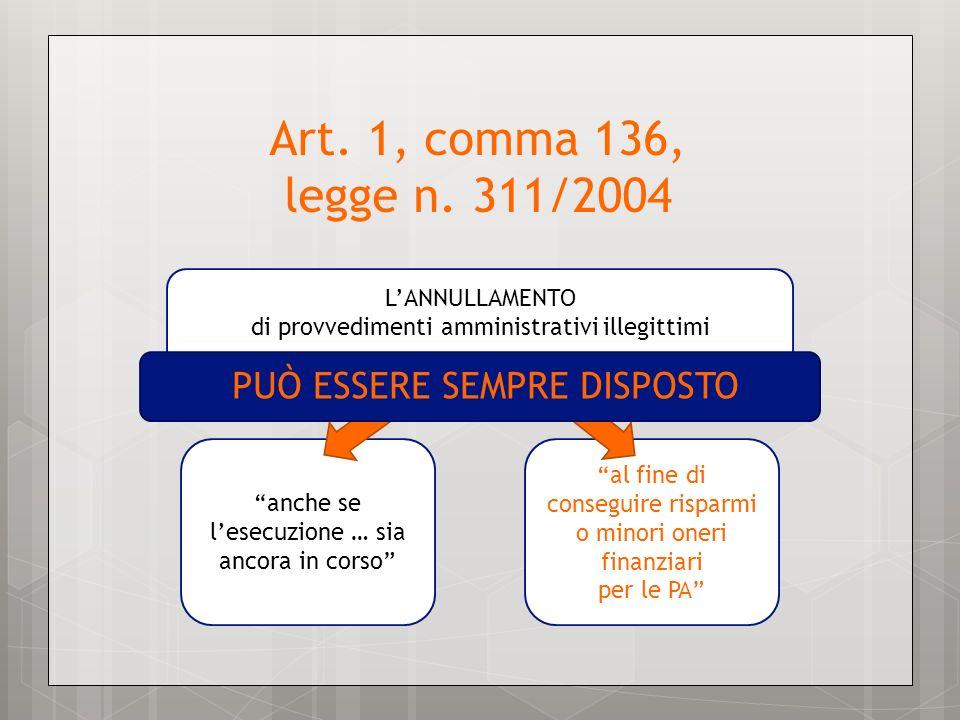 LANNULLAMENTO di provvedimenti amministrativi illegittimi Art. 1, comma 136, legge n. 311/2004 anche se lesecuzione … sia ancora in corso al fine di c