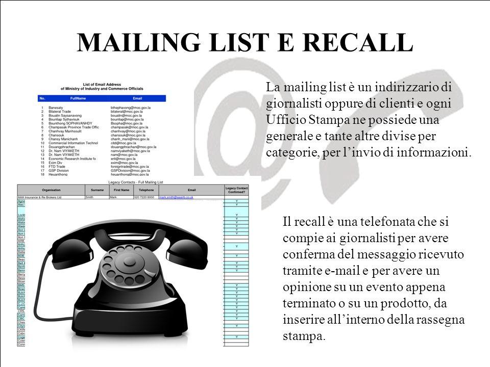 MAILING LIST E RECALL La mailing list è un indirizzario di giornalisti oppure di clienti e ogni Ufficio Stampa ne possiede una generale e tante altre