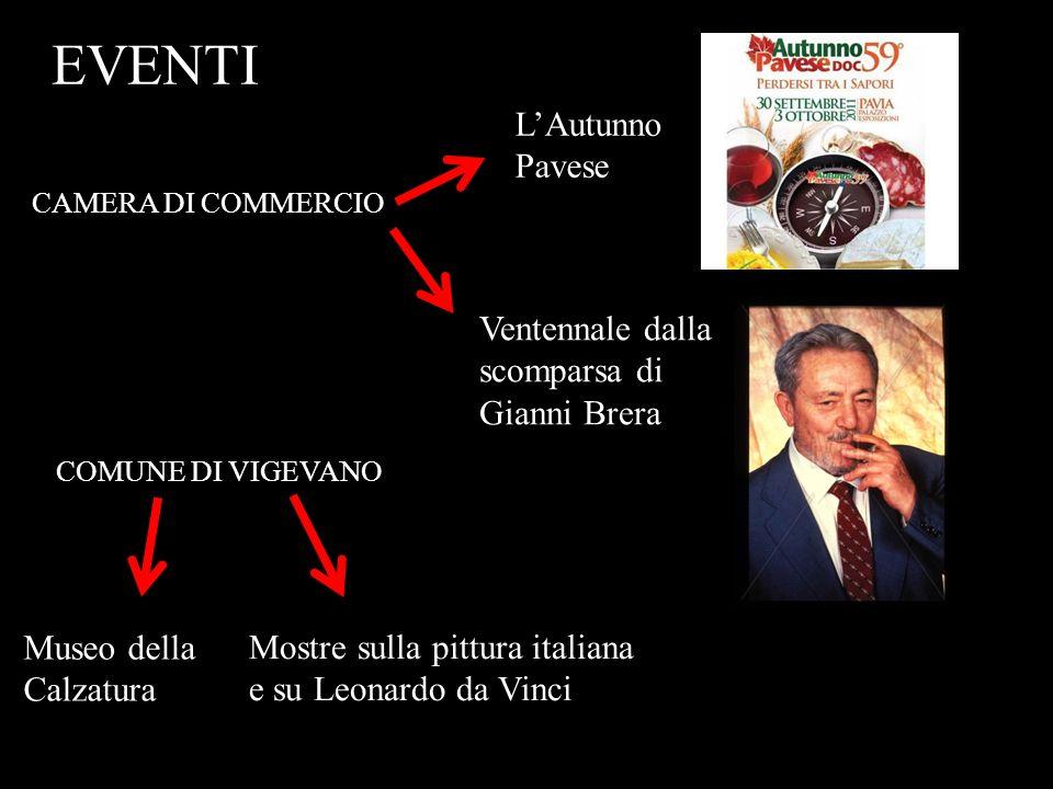 EVENTI LAutunno Pavese Mostre sulla pittura italiana e su Leonardo da Vinci Ventennale dalla scomparsa di Gianni Brera Museo della Calzatura CAMERA DI