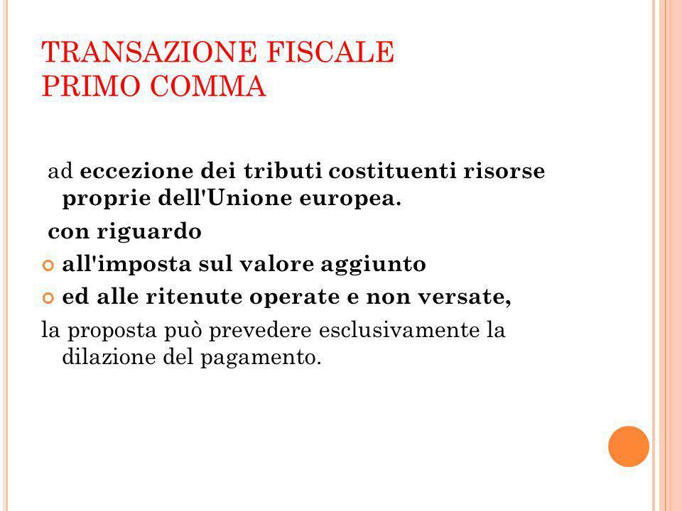 TRANSAZIONE FISCALE PRIMO COMMA ad eccezione dei tributi costituenti risorse proprie dell'Unione europea. con riguardo all'imposta sul valore aggiunto