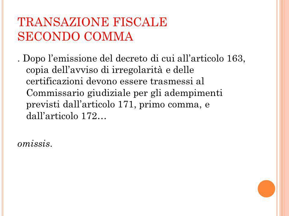 TRANSAZIONE FISCALE TERZO COMMA.