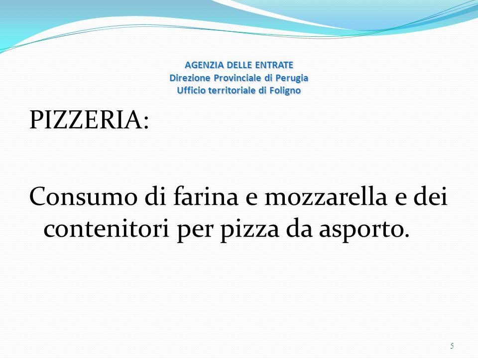 AGENZIA DELLE ENTRATE Direzione Provinciale di Perugia Ufficio territoriale di Foligno PIZZERIA: Consumo di farina e mozzarella e dei contenitori per pizza da asporto.