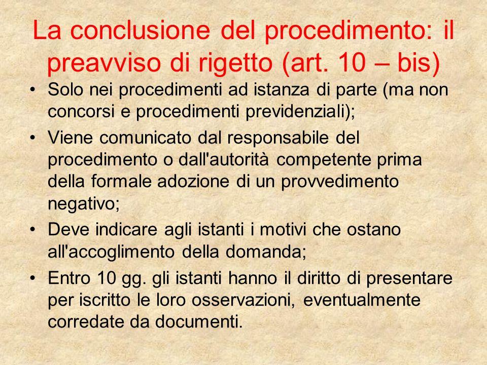 La conclusione del procedimento: il preavviso di rigetto (art.