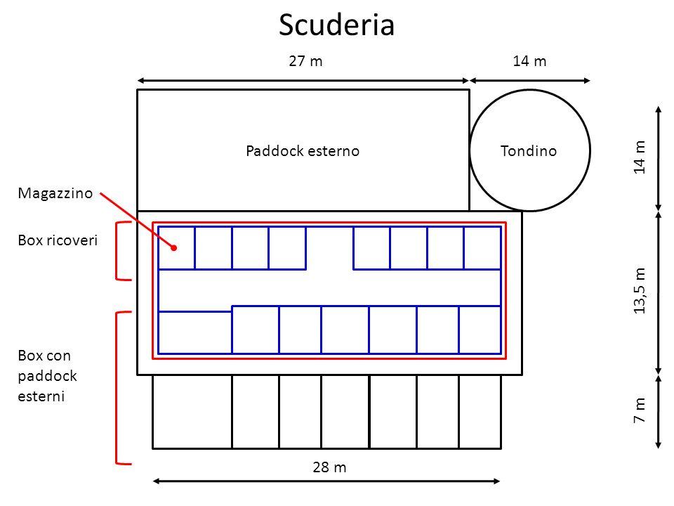 Scuderia Box ricoveri Box con paddock esterni Tondino 27 m 14 m 28 m 7 m 13,5 m 14 m Paddock esterno Magazzino