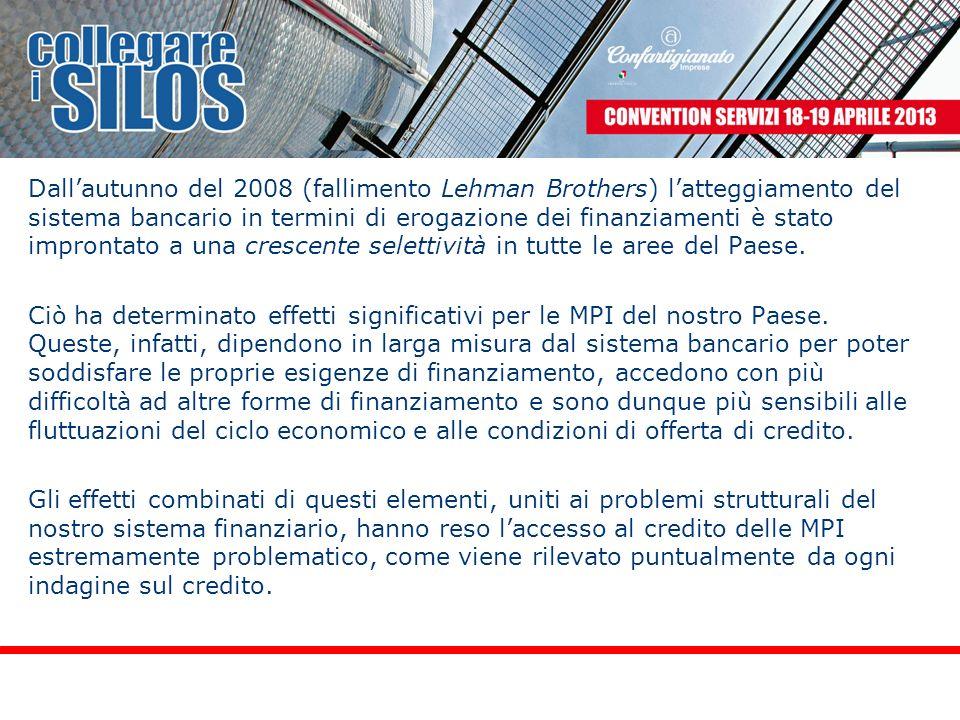 Dallautunno del 2008 (fallimento Lehman Brothers) latteggiamento del sistema bancario in termini di erogazione dei finanziamenti è stato improntato a una crescente selettività in tutte le aree del Paese.