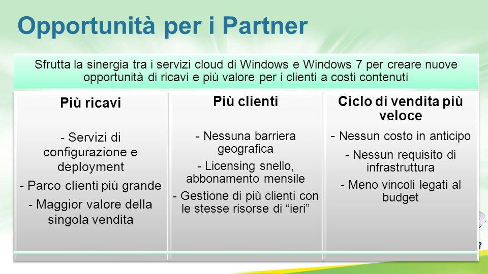 Opportunità per i Partner Sfrutta la sinergia tra i servizi cloud di Windows e Windows 7 per creare nuove opportunità di ricavi e più valore per i cli