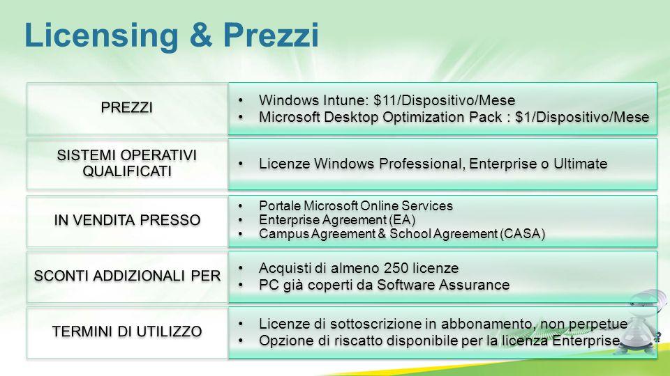 Windows Intune: $11/Dispositivo/Mese Microsoft Desktop Optimization Pack : $1/Dispositivo/Mese Windows Intune: $11/Dispositivo/Mese Microsoft Desktop