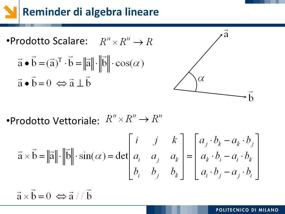 Ogni punto di viene definito a meno di una costante di proporzionalità: Coordinate omogenee coordinate omogeneecoordinate cartesiane direzione nello spazio caso di interesse per la robotica