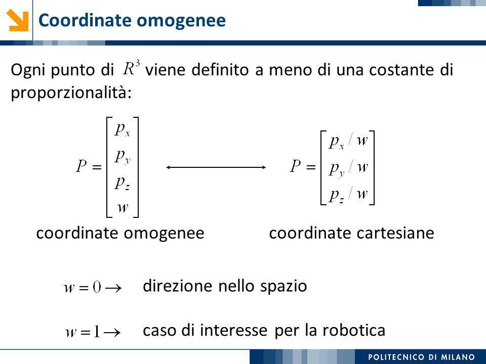 Ogni punto di viene definito a meno di una costante di proporzionalità: Coordinate omogenee coordinate omogeneecoordinate cartesiane direzione nello s