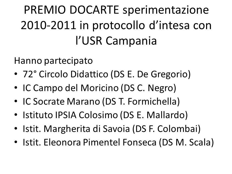 PREMIO DOCARTE sperimentazione 2010-2011 in protocollo dintesa con lUSR Campania Hanno partecipato 72° Circolo Didattico (DS E.