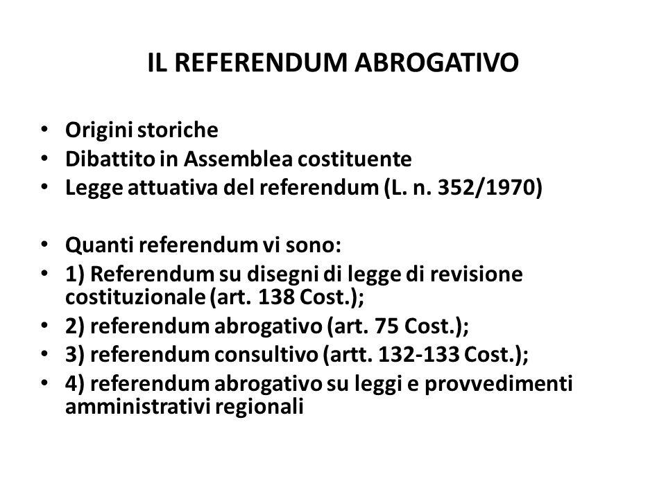 IL REFERENDUM ABROGATIVO Origini storiche Dibattito in Assemblea costituente Legge attuativa del referendum (L. n. 352/1970) Quanti referendum vi sono