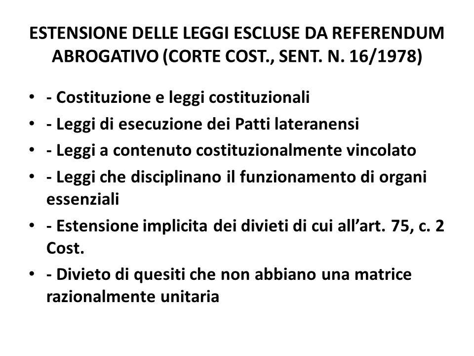 ESTENSIONE DELLE LEGGI ESCLUSE DA REFERENDUM ABROGATIVO (CORTE COST., SENT. N. 16/1978) - Costituzione e leggi costituzionali - Leggi di esecuzione de