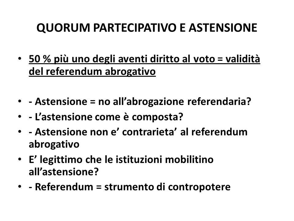 QUORUM PARTECIPATIVO E ASTENSIONE 50 % più uno degli aventi diritto al voto = validità del referendum abrogativo - Astensione = no allabrogazione refe