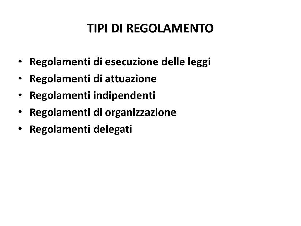 TIPI DI REGOLAMENTO Regolamenti di esecuzione delle leggi Regolamenti di attuazione Regolamenti indipendenti Regolamenti di organizzazione Regolamenti