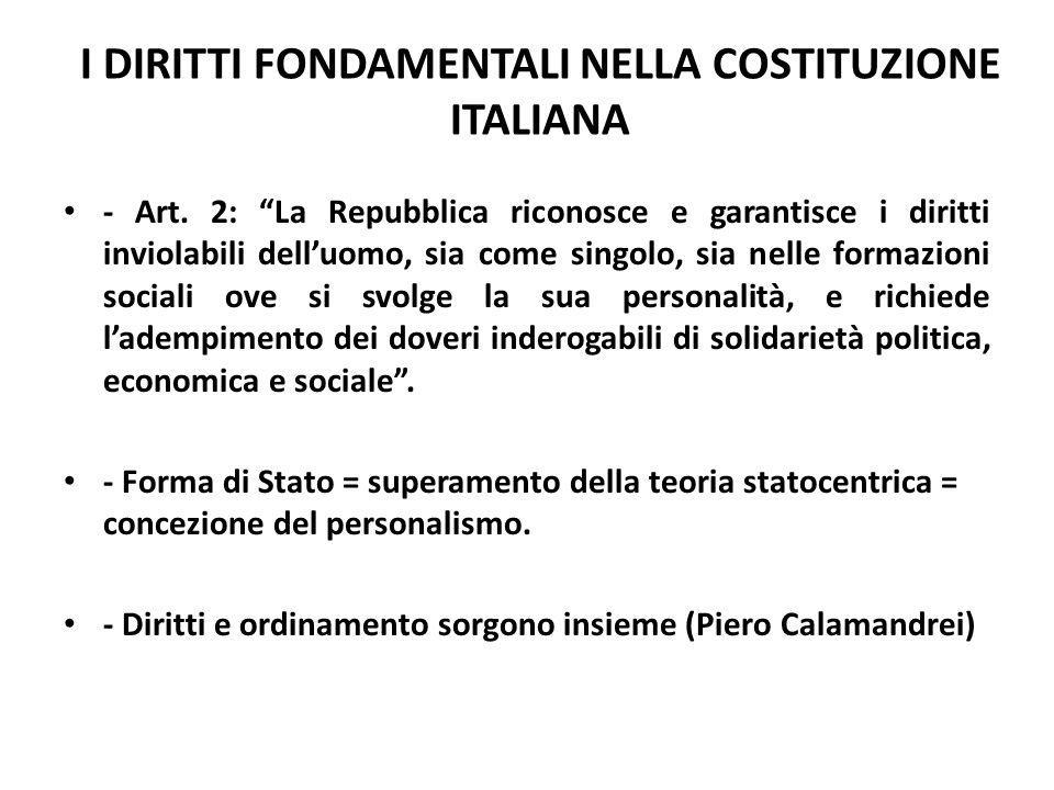 I DIRITTI FONDAMENTALI NELLA COSTITUZIONE ITALIANA - Art. 2: La Repubblica riconosce e garantisce i diritti inviolabili delluomo, sia come singolo, si