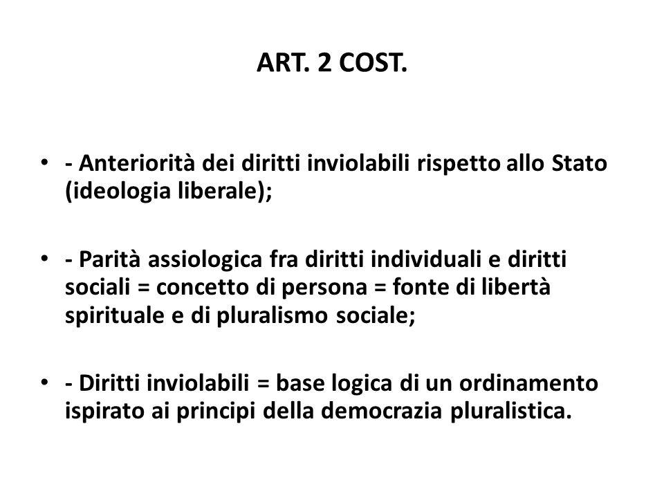 ART. 2 COST. - Anteriorità dei diritti inviolabili rispetto allo Stato (ideologia liberale); - Parità assiologica fra diritti individuali e diritti so