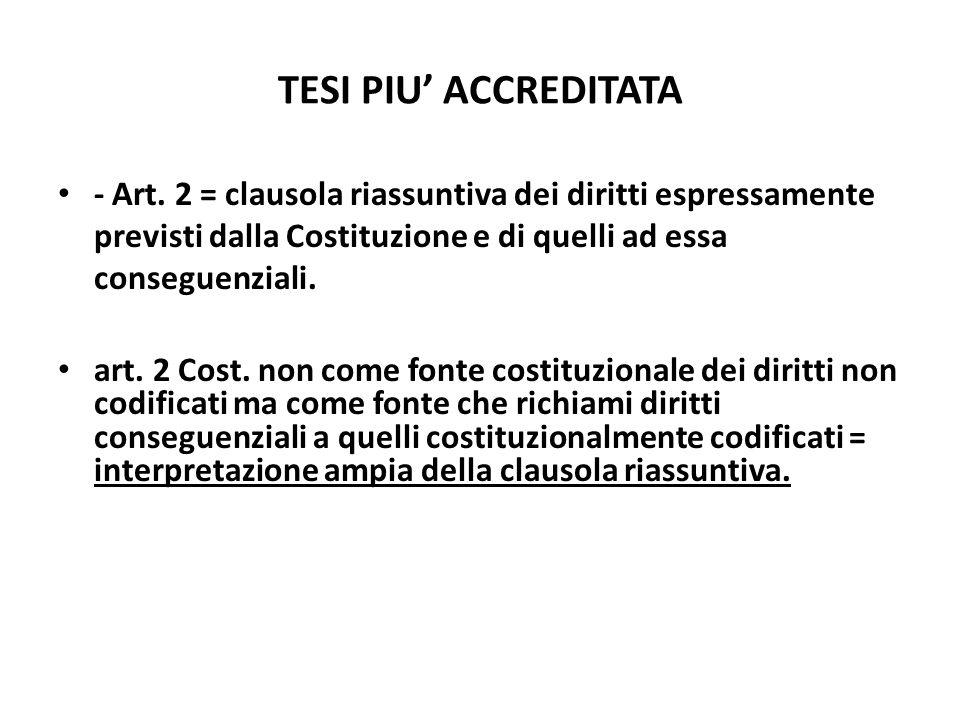 TESI PIU ACCREDITATA - Art. 2 = clausola riassuntiva dei diritti espressamente previsti dalla Costituzione e di quelli ad essa conseguenziali. art. 2