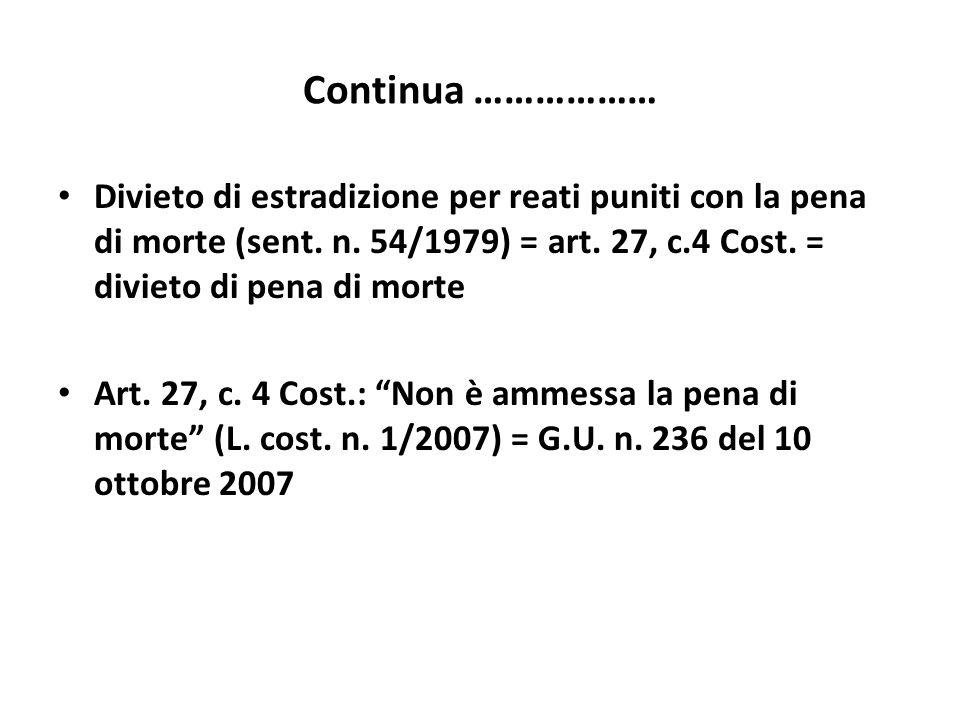 Continua ……………… Divieto di estradizione per reati puniti con la pena di morte (sent. n. 54/1979) = art. 27, c.4 Cost. = divieto di pena di morte Art.