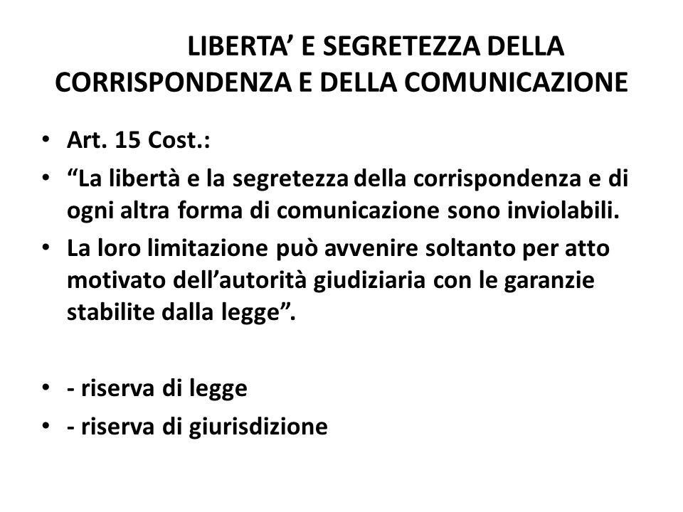LIBERTA E SEGRETEZZA DELLA CORRISPONDENZA E DELLA COMUNICAZIONE Art. 15 Cost.: La libertà e la segretezza della corrispondenza e di ogni altra forma d