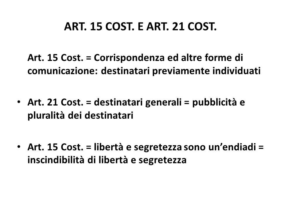 ART. 15 COST. E ART. 21 COST. Art. 15 Cost. = Corrispondenza ed altre forme di comunicazione: destinatari previamente individuati Art. 21 Cost. = dest