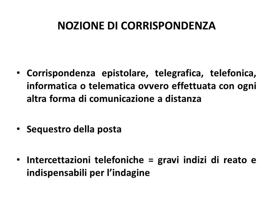NOZIONE DI CORRISPONDENZA Corrispondenza epistolare, telegrafica, telefonica, informatica o telematica ovvero effettuata con ogni altra forma di comun