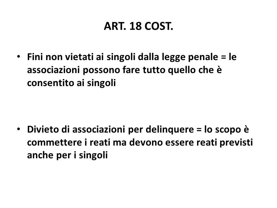 ART. 18 COST. Fini non vietati ai singoli dalla legge penale = le associazioni possono fare tutto quello che è consentito ai singoli Divieto di associ
