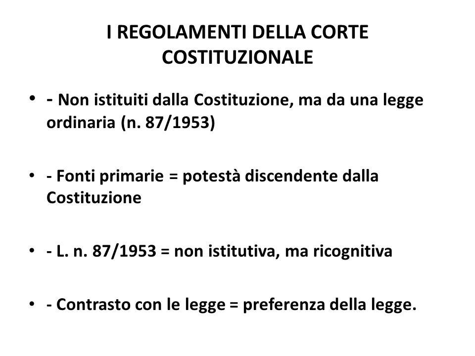 I REGOLAMENTI DELLA CORTE COSTITUZIONALE - Non istituiti dalla Costituzione, ma da una legge ordinaria (n. 87/1953) - Fonti primarie = potestà discend