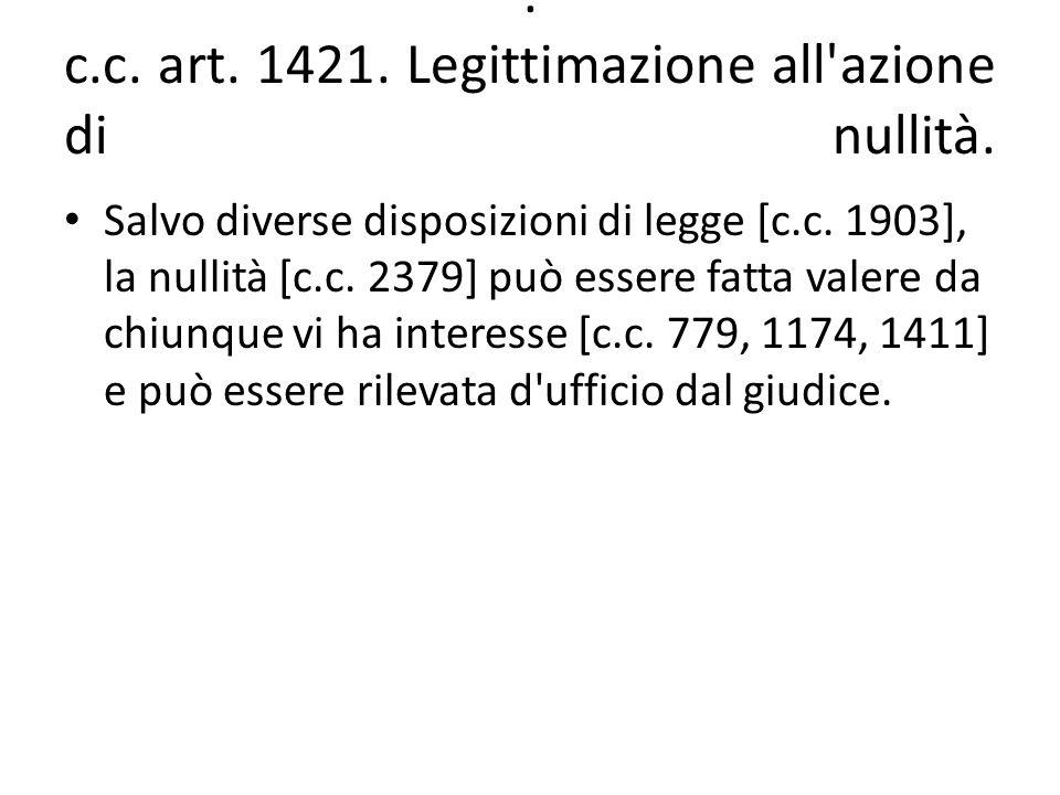 . c.c. art. 1421. Legittimazione all'azione di nullità. Salvo diverse disposizioni di legge [c.c. 1903], la nullità [c.c. 2379] può essere fatta valer
