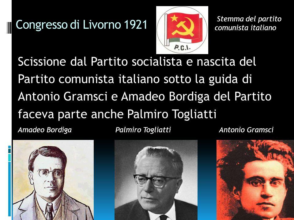 Congresso di Livorno 1921 Scissione dal Partito socialista e nascita del Partito comunista italiano sotto la guida di Antonio Gramsci e Amadeo Bordiga