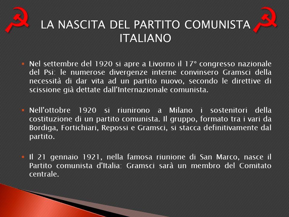 Nel settembre del 1920 si apre a Livorno il 17° congresso nazionale del Psi: le numerose divergenze interne convinsero Gramsci della necessità di dar