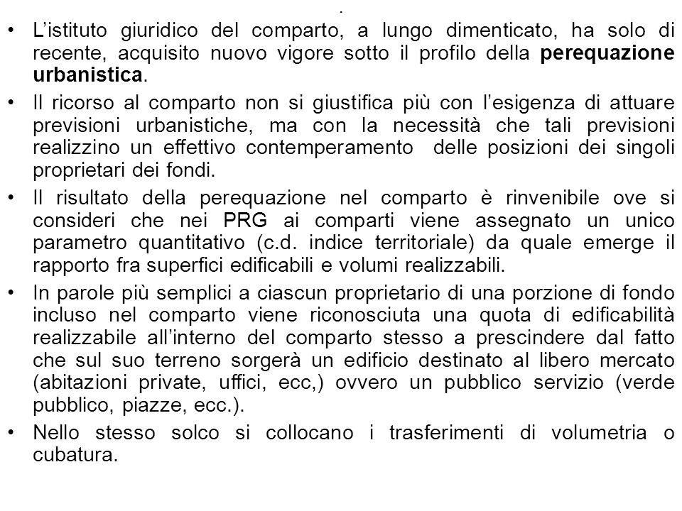 . Listituto giuridico del comparto, a lungo dimenticato, ha solo di recente, acquisito nuovo vigore sotto il profilo della perequazione urbanistica. I