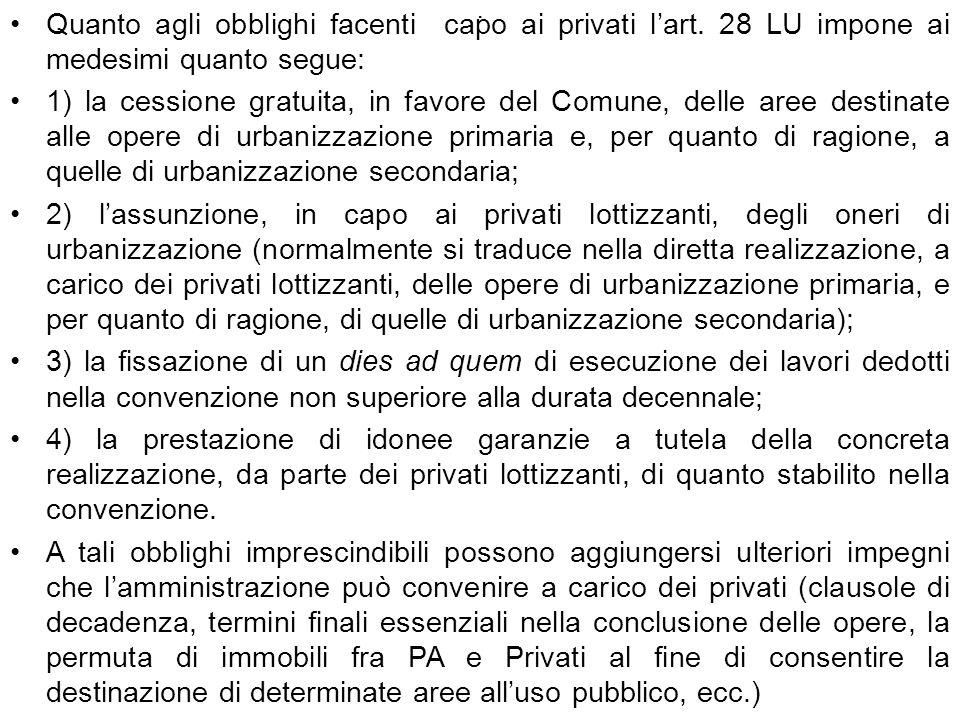 . Quanto agli obblighi facenti capo ai privati lart. 28 LU impone ai medesimi quanto segue: 1) la cessione gratuita, in favore del Comune, delle aree