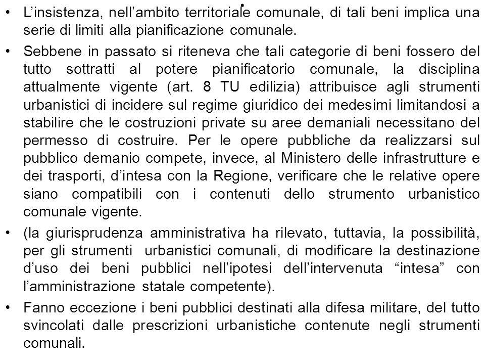 . Linsistenza, nellambito territoriale comunale, di tali beni implica una serie di limiti alla pianificazione comunale. Sebbene in passato si riteneva