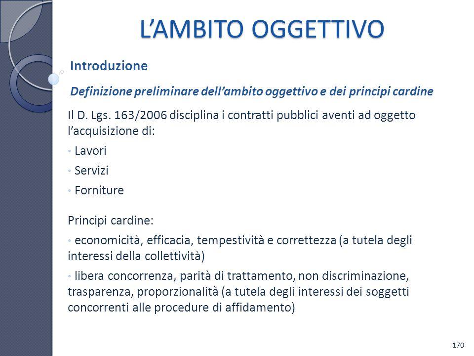 Il D. Lgs. 163/2006 disciplina i contratti pubblici aventi ad oggetto lacquisizione di: Lavori Servizi Forniture Principi cardine: economicità, effica