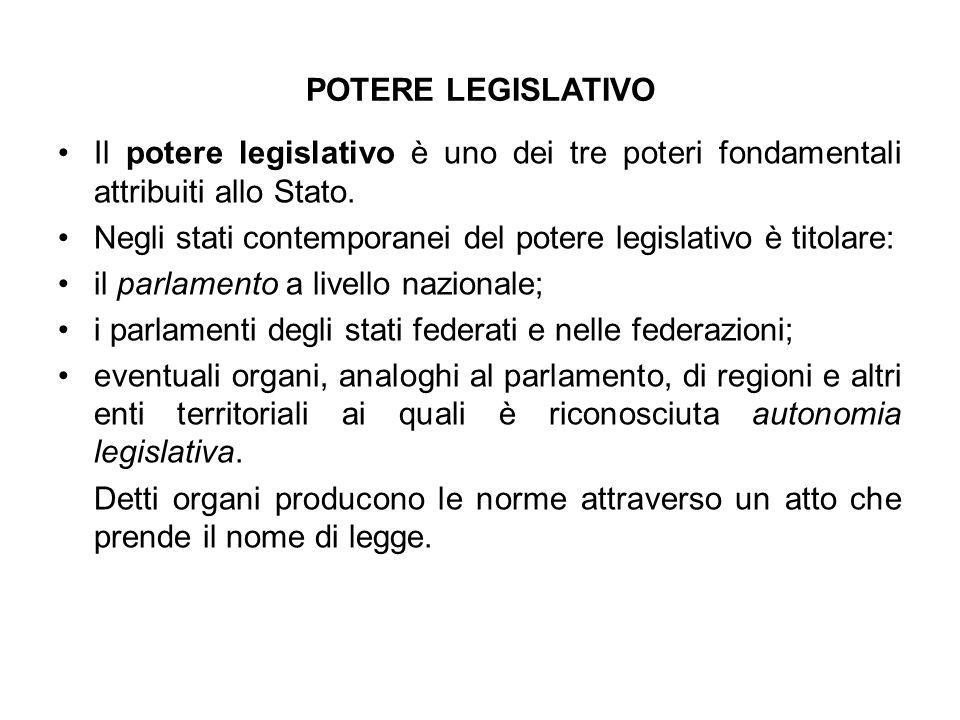 POTERE LEGISLATIVO Il potere legislativo è uno dei tre poteri fondamentali attribuiti allo Stato. Negli stati contemporanei del potere legislativo è t