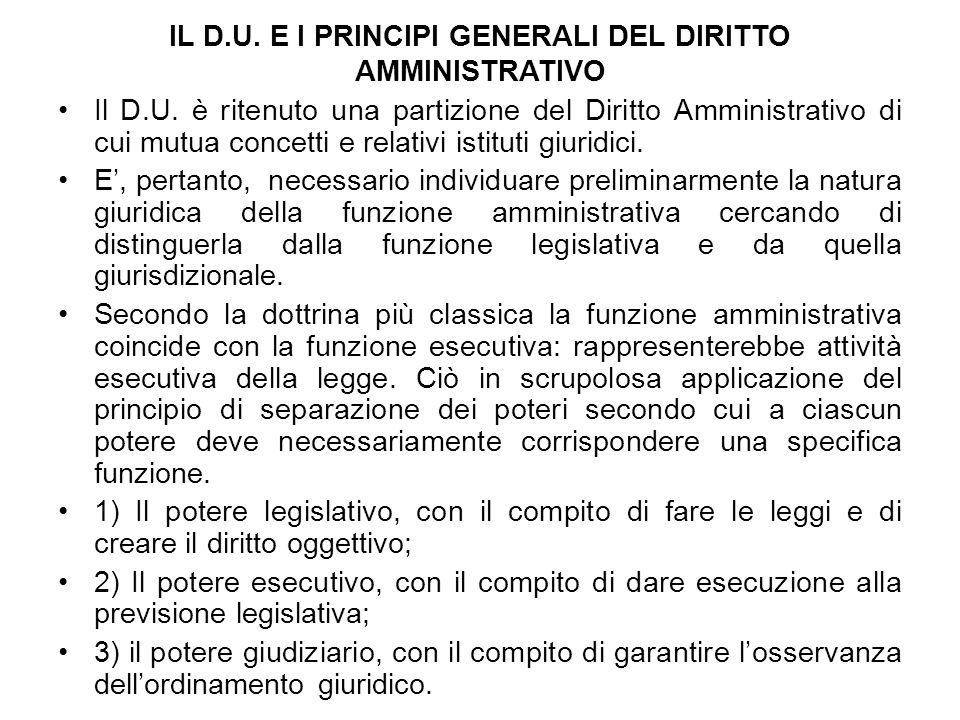 IL D.U. E I PRINCIPI GENERALI DEL DIRITTO AMMINISTRATIVO Il D.U. è ritenuto una partizione del Diritto Amministrativo di cui mutua concetti e relativi