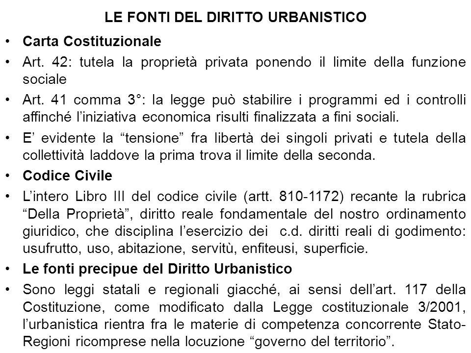 LE FONTI DEL DIRITTO URBANISTICO Carta Costituzionale Art. 42: tutela la proprietà privata ponendo il limite della funzione sociale Art. 41 comma 3°: