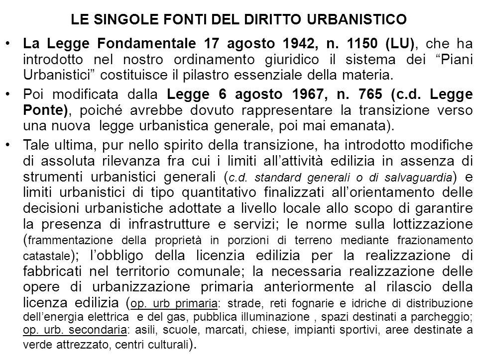 LE SINGOLE FONTI DEL DIRITTO URBANISTICO La Legge Fondamentale 17 agosto 1942, n. 1150 (LU), che ha introdotto nel nostro ordinamento giuridico il sis
