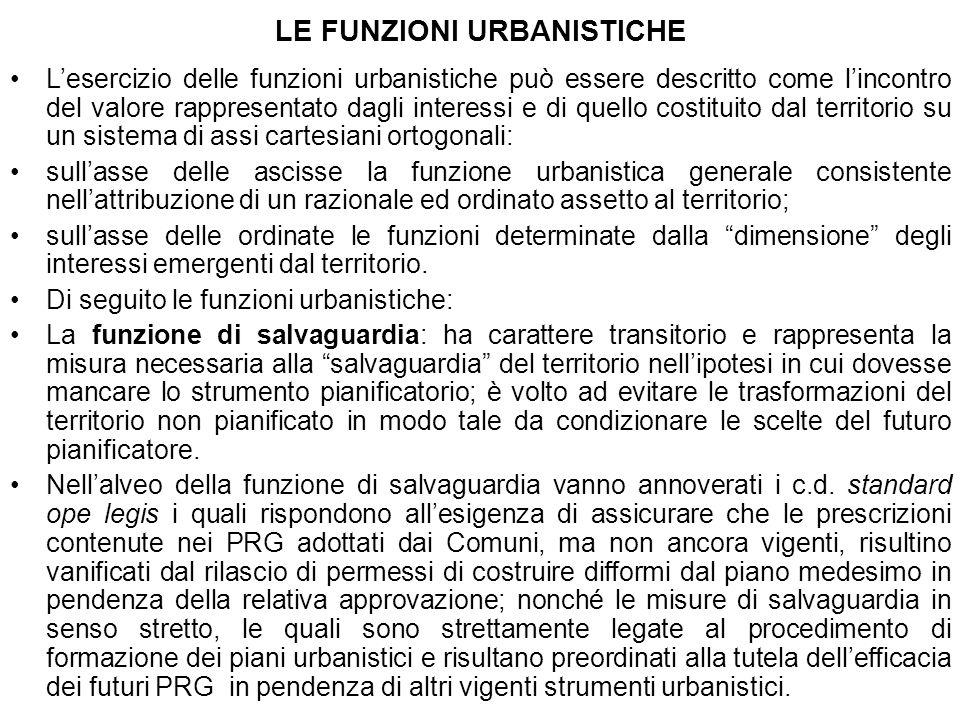LE FUNZIONI URBANISTICHE Lesercizio delle funzioni urbanistiche può essere descritto come lincontro del valore rappresentato dagli interessi e di quel