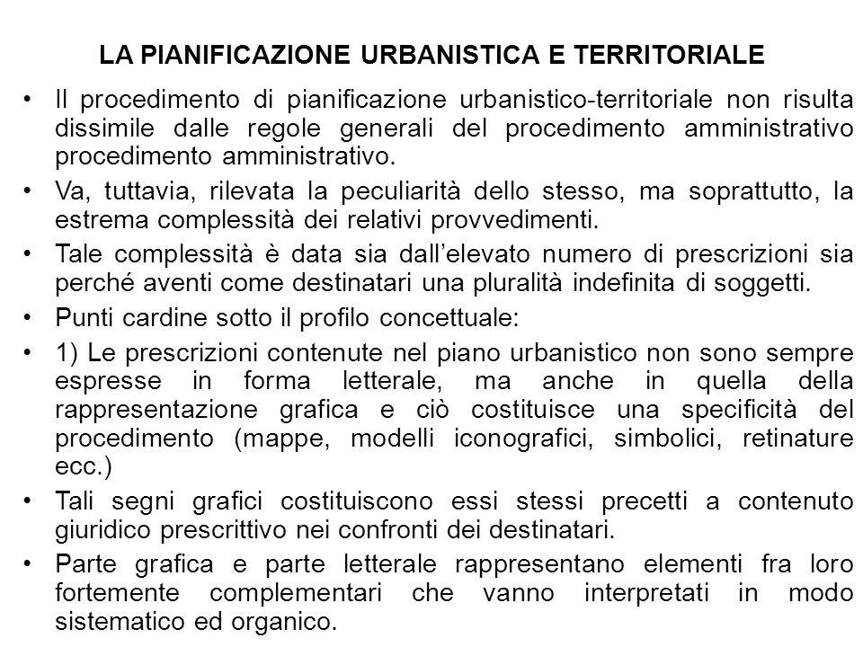 LA PIANIFICAZIONE URBANISTICA E TERRITORIALE Il procedimento di pianificazione urbanistico-territoriale non risulta dissimile dalle regole generali de