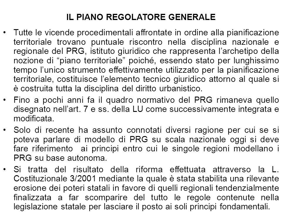 IL PIANO REGOLATORE GENERALE Tutte le vicende procedimentali affrontate in ordine alla pianificazione territoriale trovano puntuale riscontro nella di