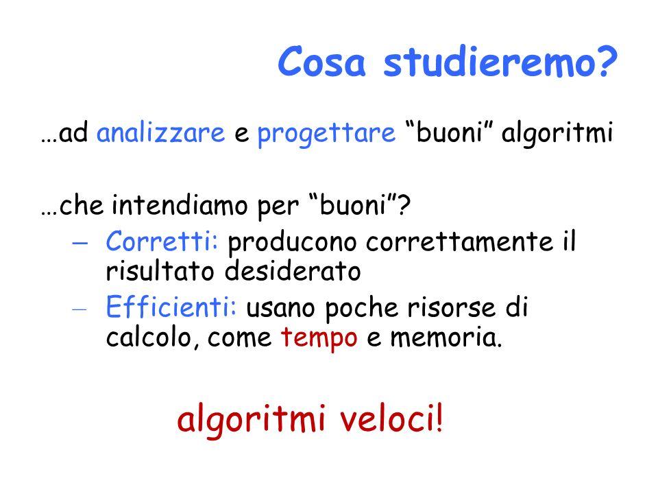 Cosa studieremo? …ad analizzare e progettare buoni algoritmi …che intendiamo per buoni? – Corretti: producono correttamente il risultato desiderato –
