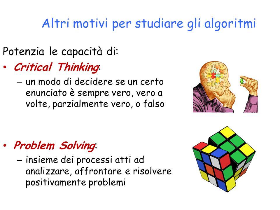 Potenzia le capacità di: Critical Thinking: – un modo di decidere se un certo enunciato è sempre vero, vero a volte, parzialmente vero, o falso Proble