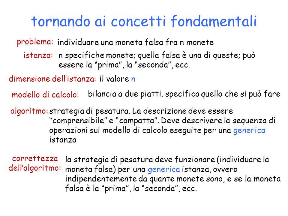 tornando ai concetti fondamentali modello di calcolo: bilancia a due piatti. specifica quello che si può fare problema: individuare una moneta falsa f