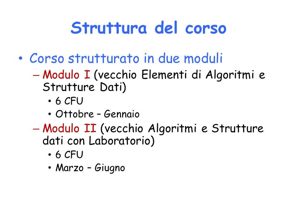 Struttura del corso Corso strutturato in due moduli – Modulo I (vecchio Elementi di Algoritmi e Strutture Dati) 6 CFU Ottobre – Gennaio – Modulo II (v