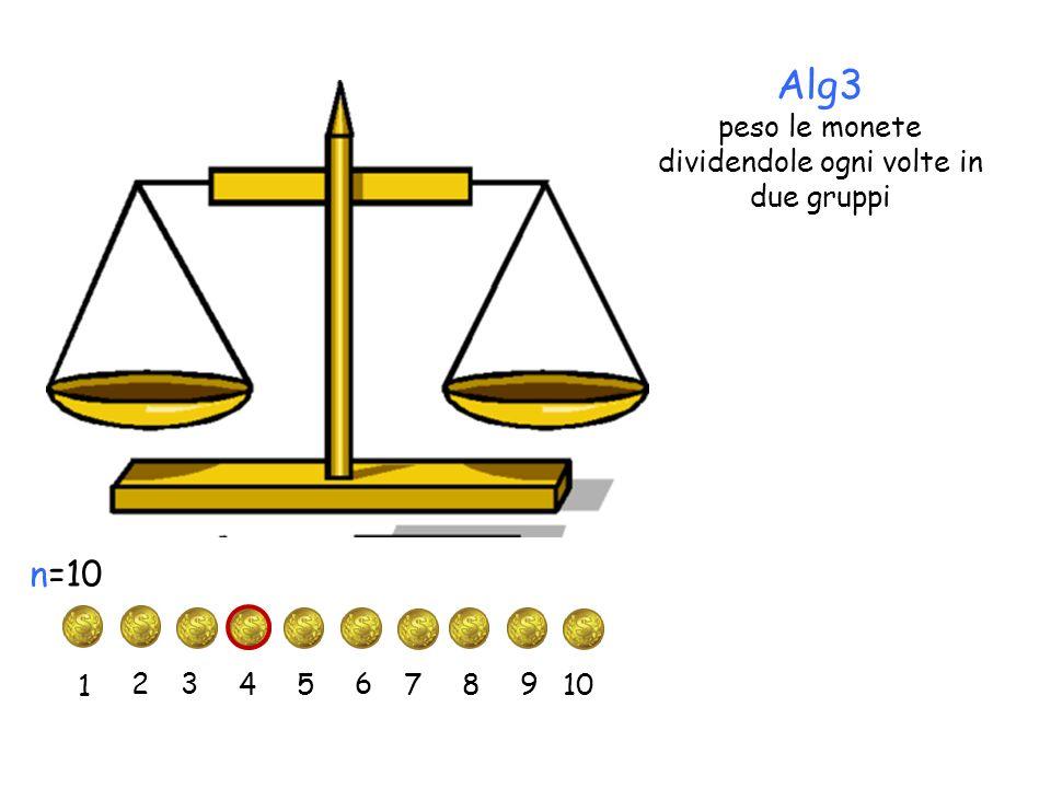 Alg3 peso le monete dividendole ogni volte in due gruppi 1 2 3 45 6 7 n=10 8 9 10