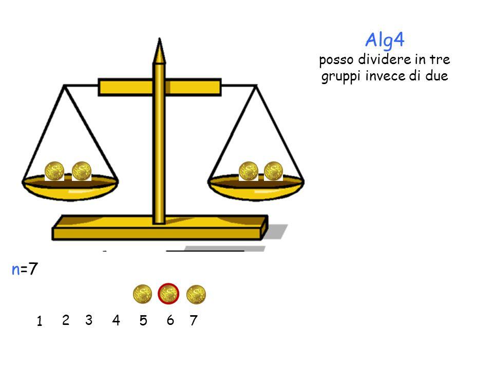 Alg4 posso dividere in tre gruppi invece di due 1 2 3 45 6 7 n=7