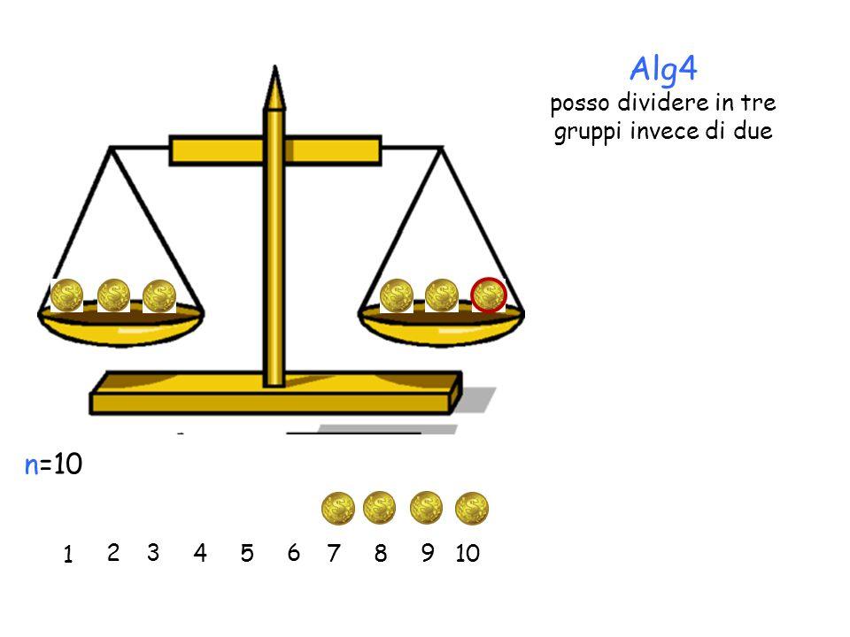 1 2 3 45 6 7 n=10 8 9 10 Alg4 posso dividere in tre gruppi invece di due