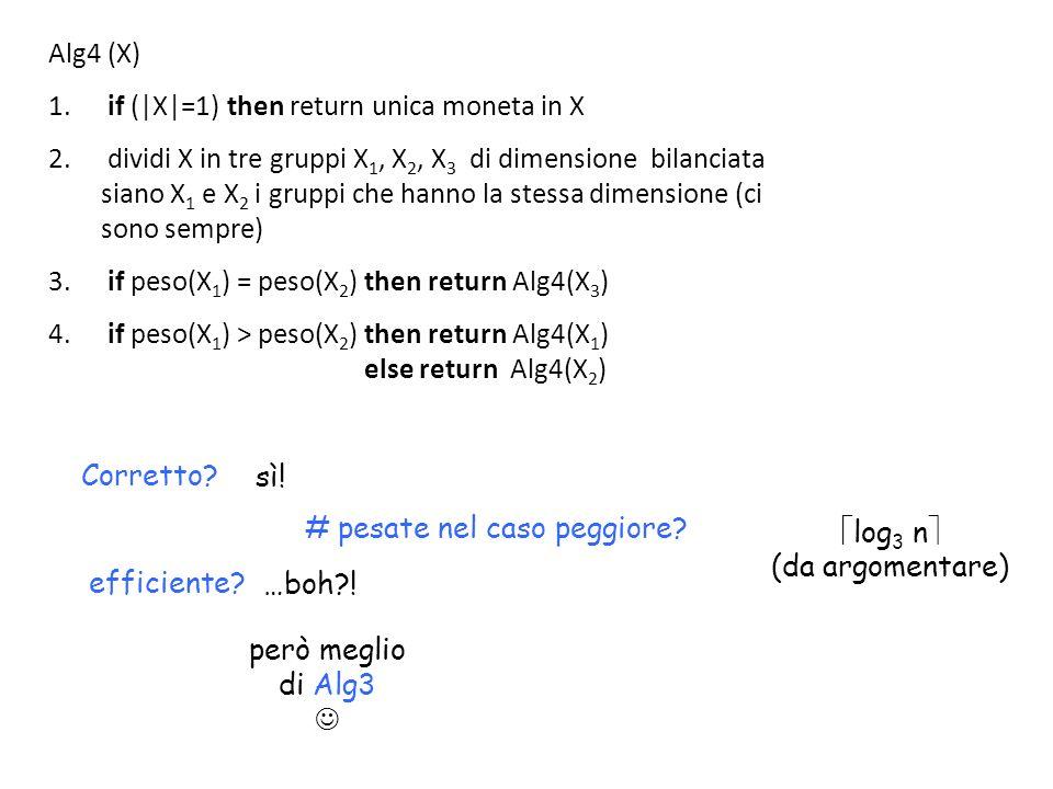 Alg4 (X) 1. if (|X|=1) then return unica moneta in X 2. dividi X in tre gruppi X 1, X 2, X 3 di dimensione bilanciata siano X 1 e X 2 i gruppi che han